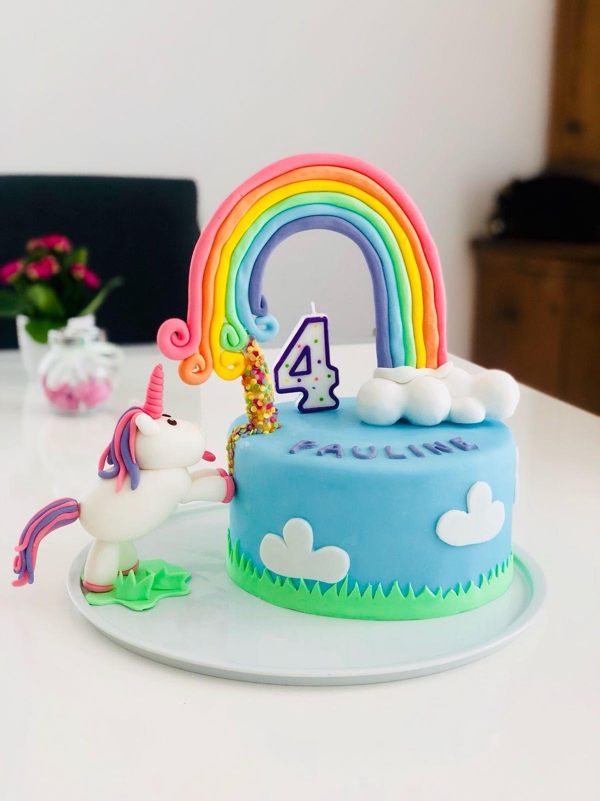Einhorntorte Geburtstag Madchen 4jahre Regenbogen Torte Kindergeburtstag Geburtstagstorte Kindergeburtstag Kuchen 2 Jahre