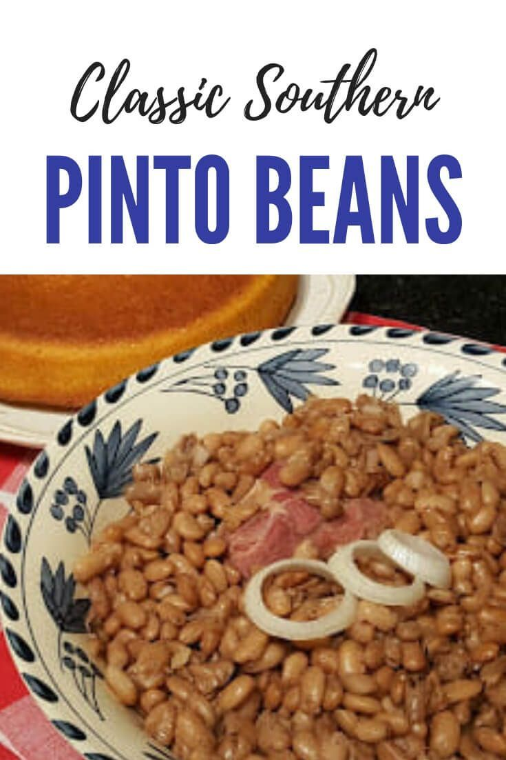 Photo of Southern pinto beans flavored with ham cooked on the stove and served with …