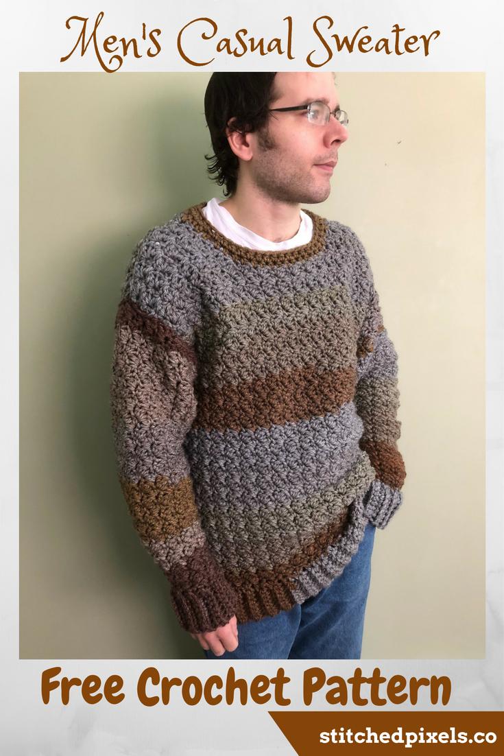 Men\'s Casual Sweater – Stitched Pixels | Crochet | Pinterest ...
