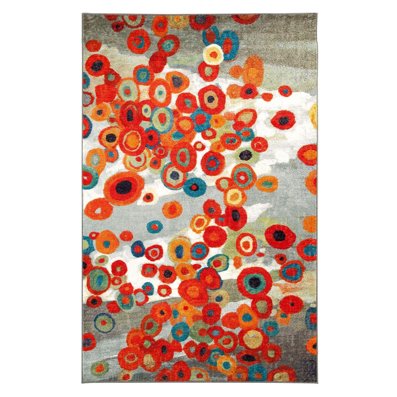 tossed floral multi colored rectangular: 5 ft. x 8 ft. rug mohawk