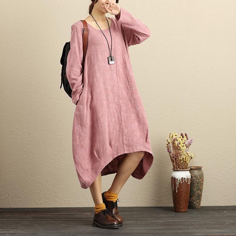 Literature Cotton Linen Round Neck Long Sleeves Pink Women Dress