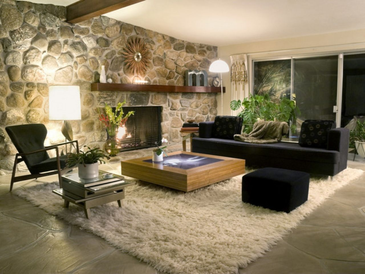 Delightful Decoration Luxury Living Room Furniture Ideas With Stone Wall And Fireplace Part 22