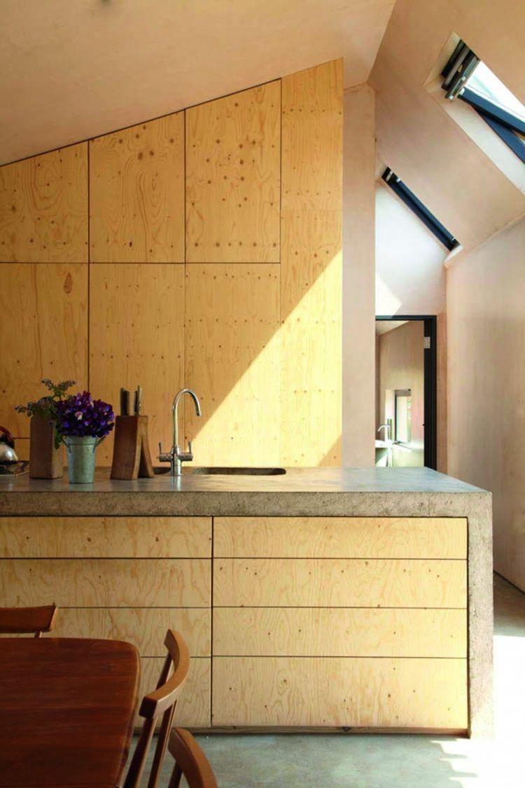 natürliche Optik von Beton und Sperrholzplatten in der Küche | Küche ...