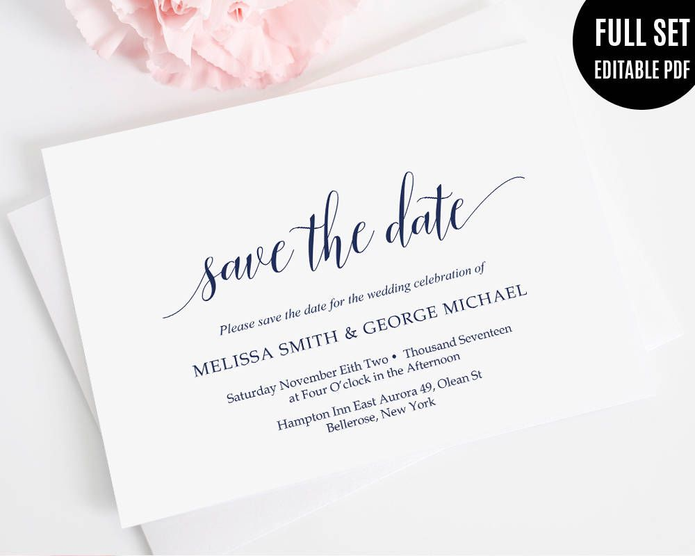 Navy Save the Date Card Template. Printable Save the Date. Elegant ...