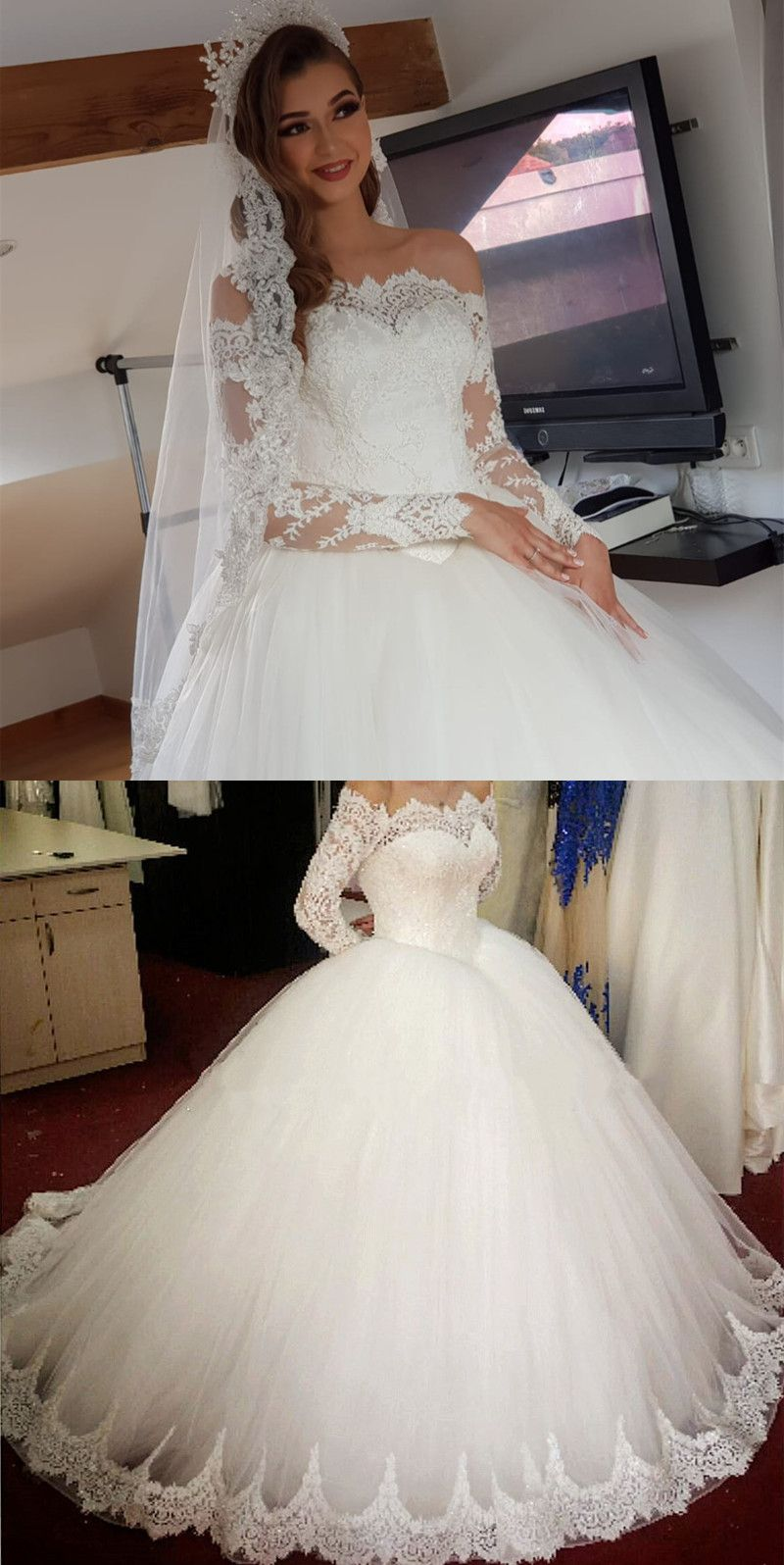 Vintage Wedding Dresses Lace Long Sleeves Ball Gowns Off The Shoulder Ball Gown Wedding Dress Ball Dresses Ball Gowns Wedding [ 1596 x 800 Pixel ]