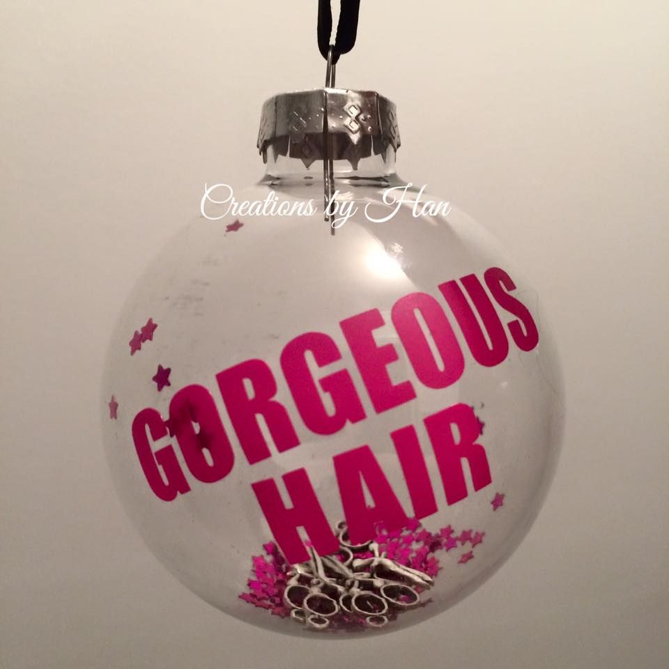 Personalised hair dresser bauble Christmas gift with scissors ...