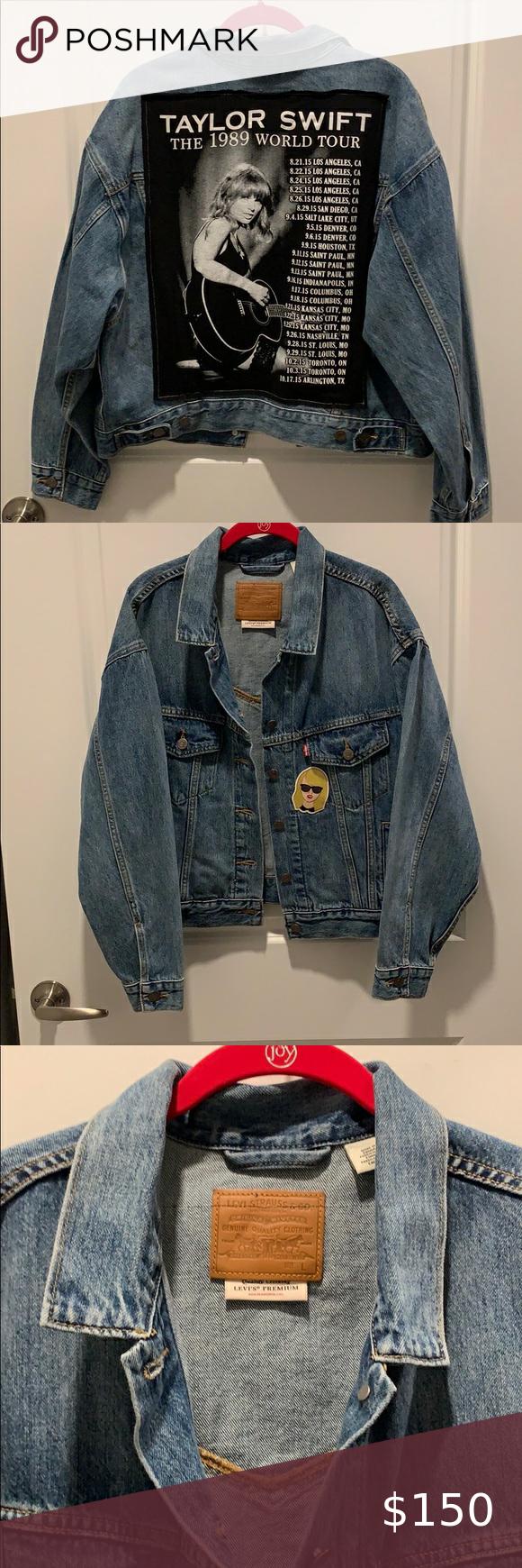 Levi S Taylor Swift Custom Denim Jacket Denim Jacket Custom Denim Jacket Jackets [ 1740 x 580 Pixel ]