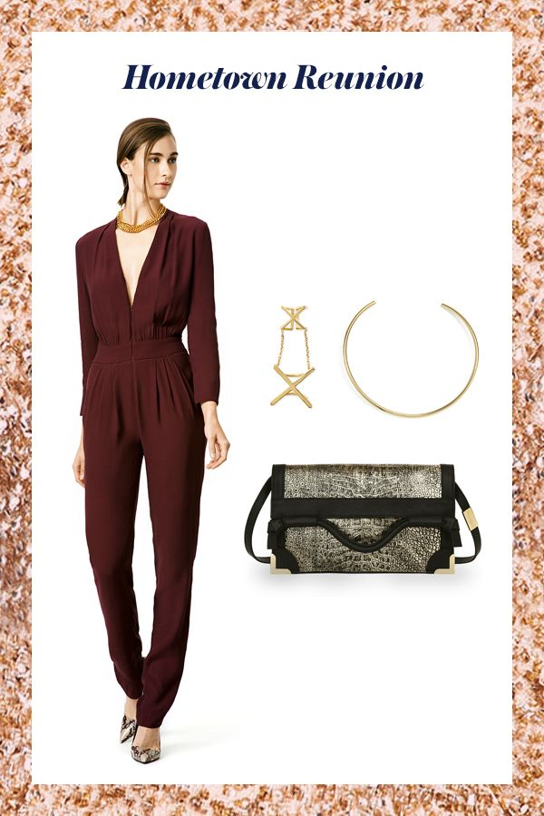 Seeing old friends over Thanksgiving? Go for a high impact look in a polished jumpsuit topped off with gold accessories.