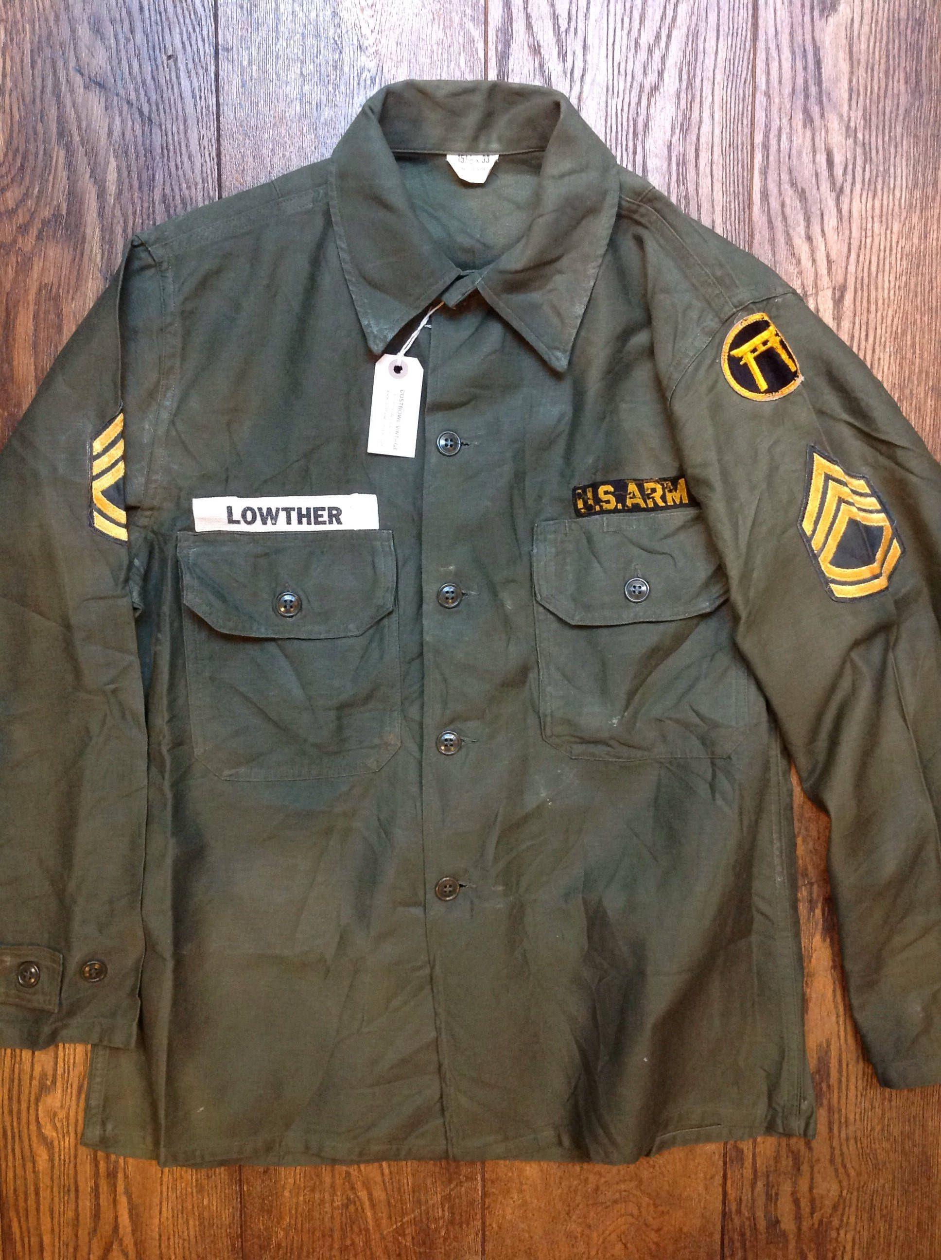 Vintage 1960s 60s khaki green sateen cotton US army utility field shirt  OG-107 46 0e50a646e