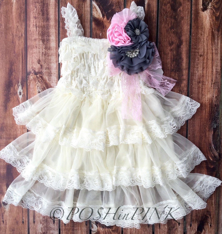 Baby dresses for wedding  Rustic girl dress pin ivory pink gray cream lace chiffon dress