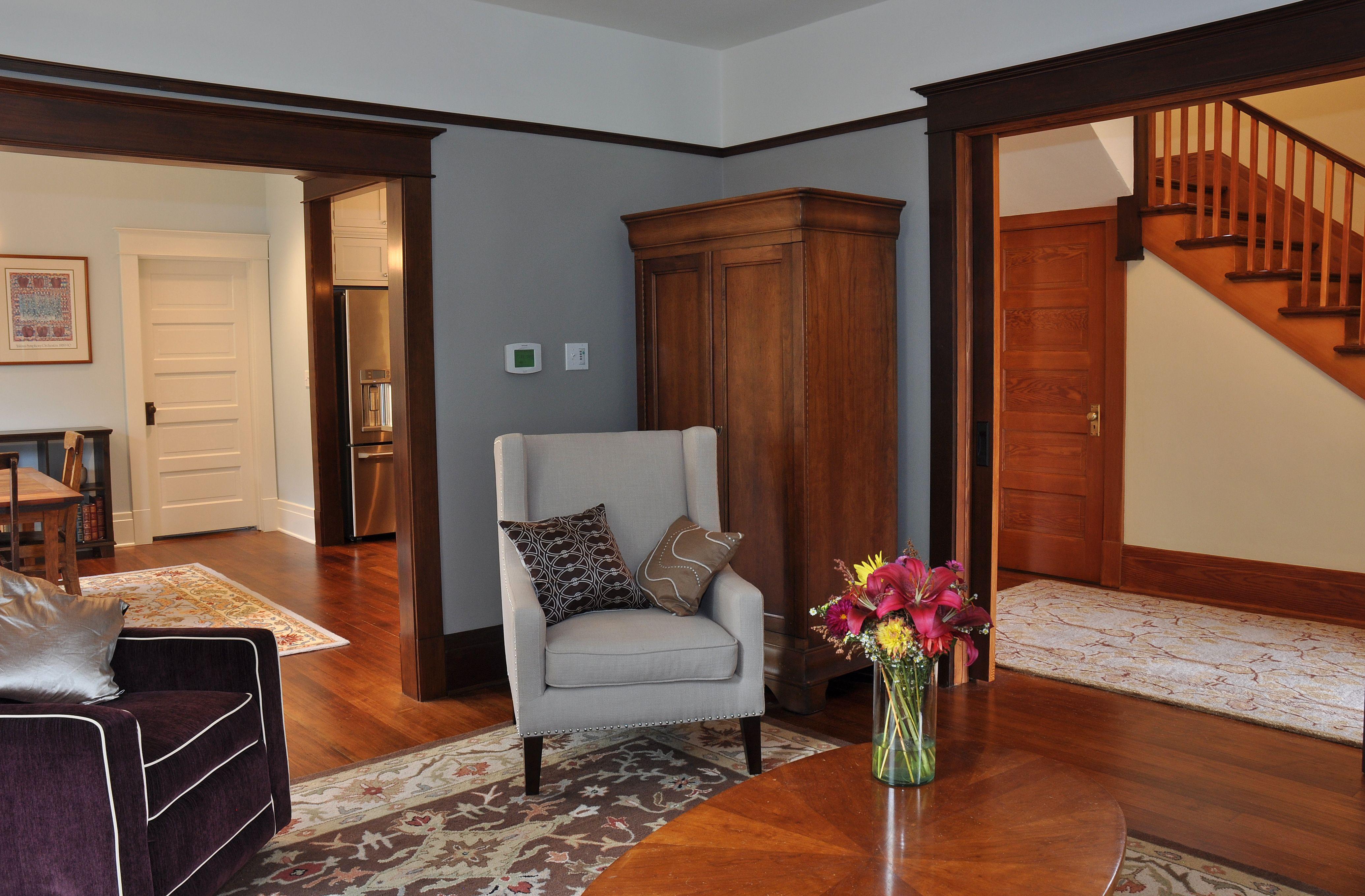 Craftsman style living room with original hardwood floors