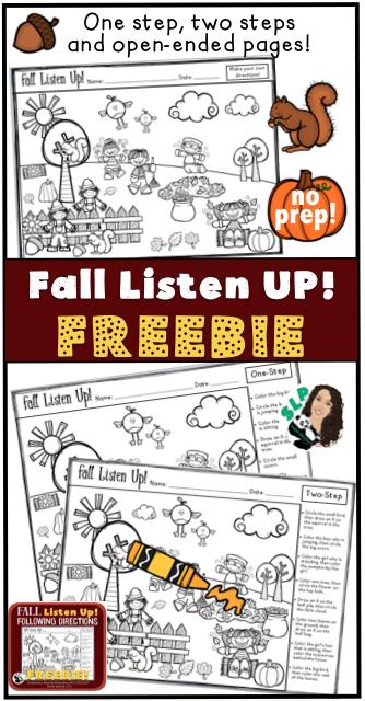 fall listen up following directions freebie free downloads from panda speech speech therapy. Black Bedroom Furniture Sets. Home Design Ideas