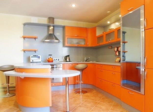 Pale Orange Kitchen instead, orange granite, white or pale grey blue cabinets