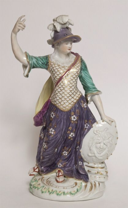 Figurin, Minerva stående med högra armen lyft, c. 1765 Artist/MakerDesign: English, active during andra hälften av 1700-talet Manufacturer: Royal Crown Derby Porcelain Co. Ltd., Storbritannien