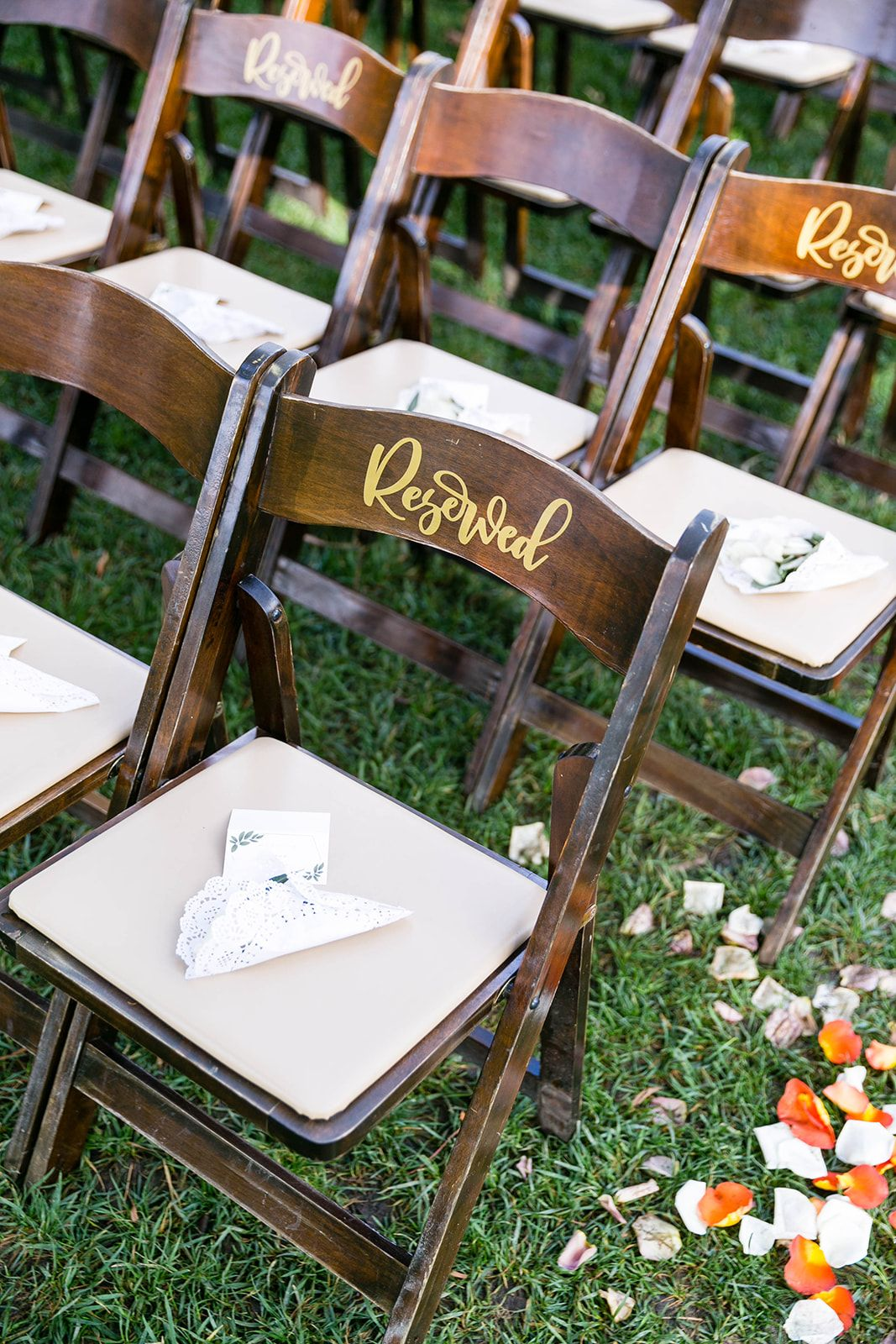 Reserved sign at ceremony site weddin Galway Downs in
