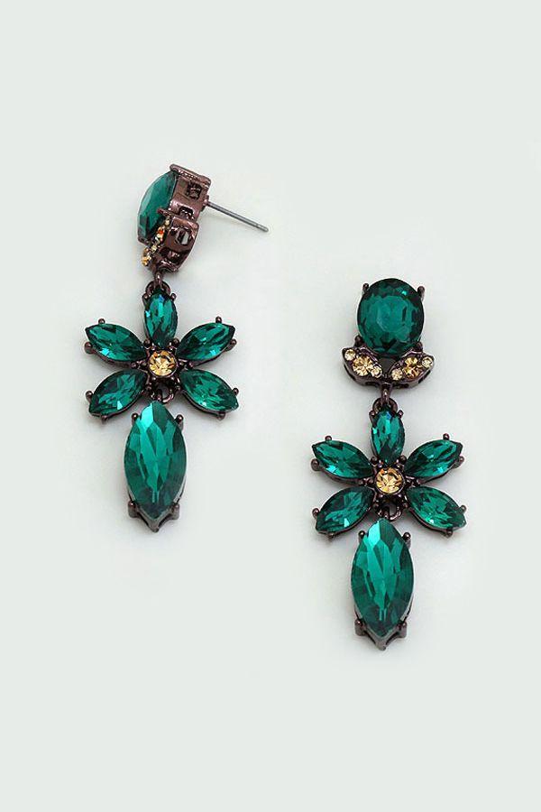 Crystal Fia Earrings in Emerald on Emma Stine Limited