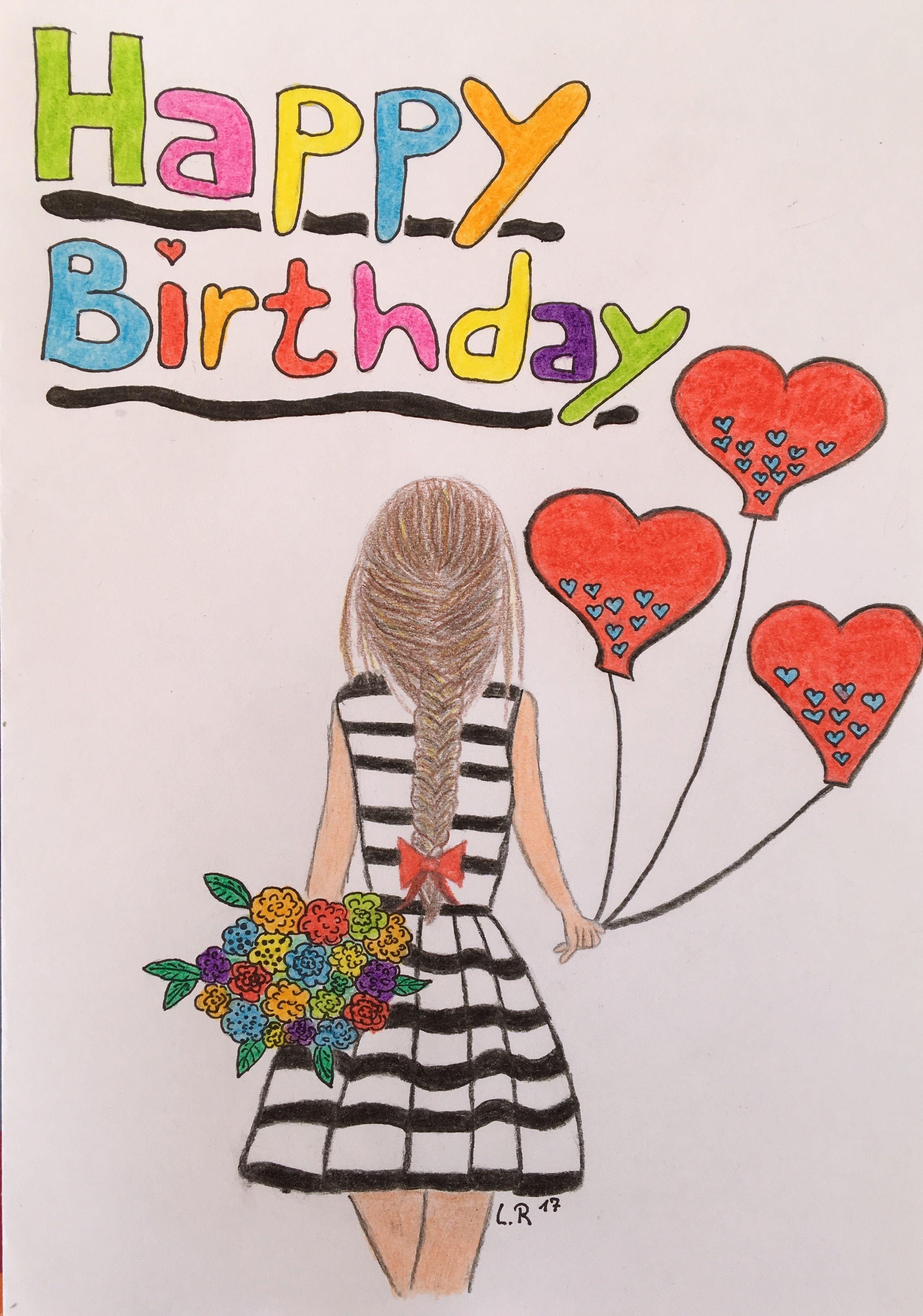 Geburtstagskarte Selber Malen Drawings Drawings