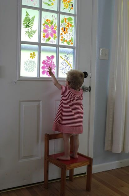 """Real flower-petal """"stained glass"""" windows. Pretty! Click to see directions."""