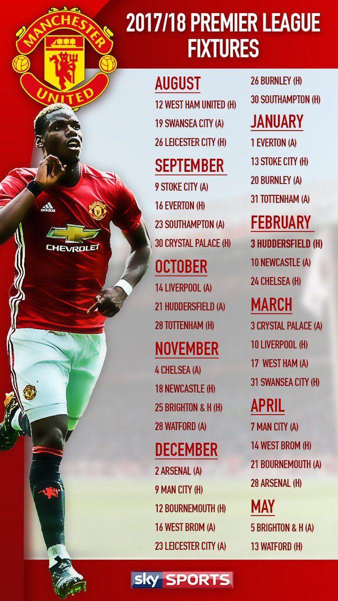Manchester United Full Premier League Fixture List Manchester United Football Club Manchester United Football Premier League