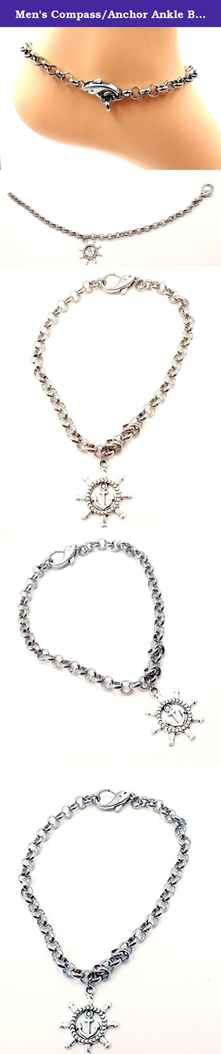 Men's Compass/Anchor Ankle Bracelet -Nautical Stainless Steel -Size 8-11- Ocean Lovers Collection. Ocean Lovers Collection. This anklet features a compass with an anchor inset charm on a stainless steel 5mm rolo chain and has the addition of a dolphin clasp. Available in sizes 8-11, please utilize customization to order correct size. To determine proper size measure ankle just below ankle bone and add 1/2 inch. Your anklet will arrive in a lovely gift box.