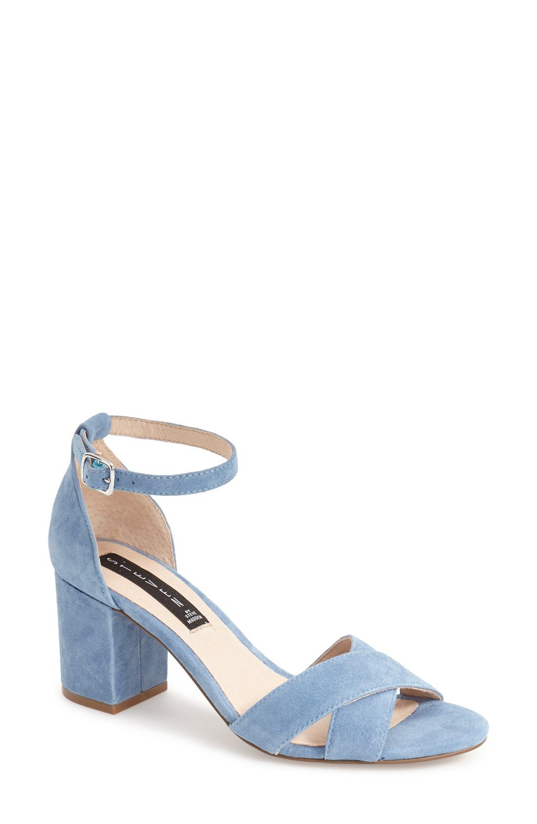 43de71354ad Blue suede shoes! This pair from Steve Madden has a slim ankle strap and block  heel for a chic look.