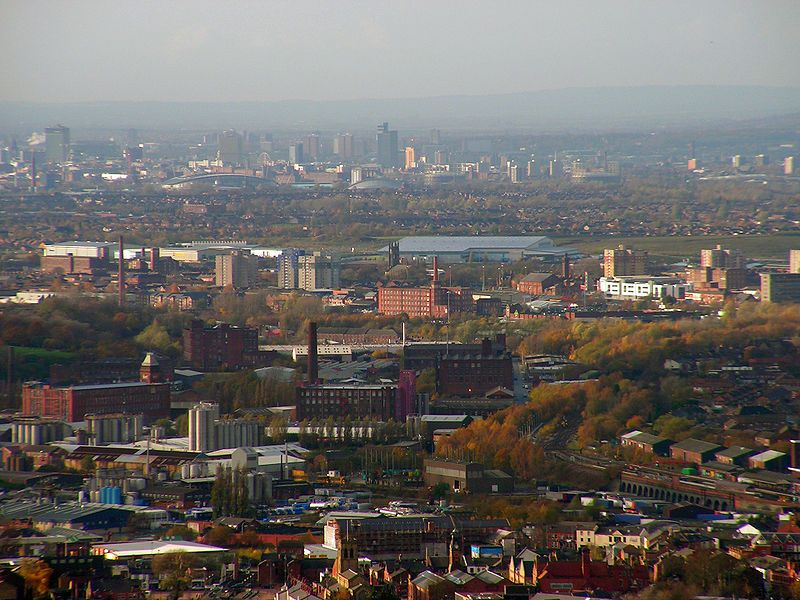 Stalybridge towards Manchester. A view over the borough of