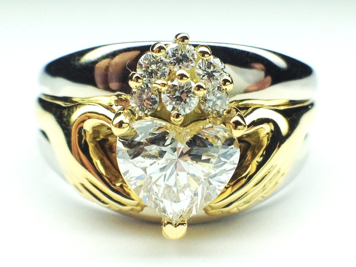 Engagement Ring Claddagh TwoTone Heart Diamond Engagement Ring