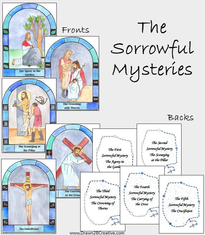 The Sorrowful Mysteries of the Rosary Cards | Catholic Printables ...