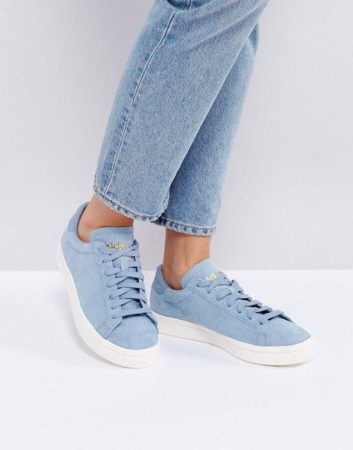 Adidas Originals Court Vantage zapatillas en azul pálido que corazón