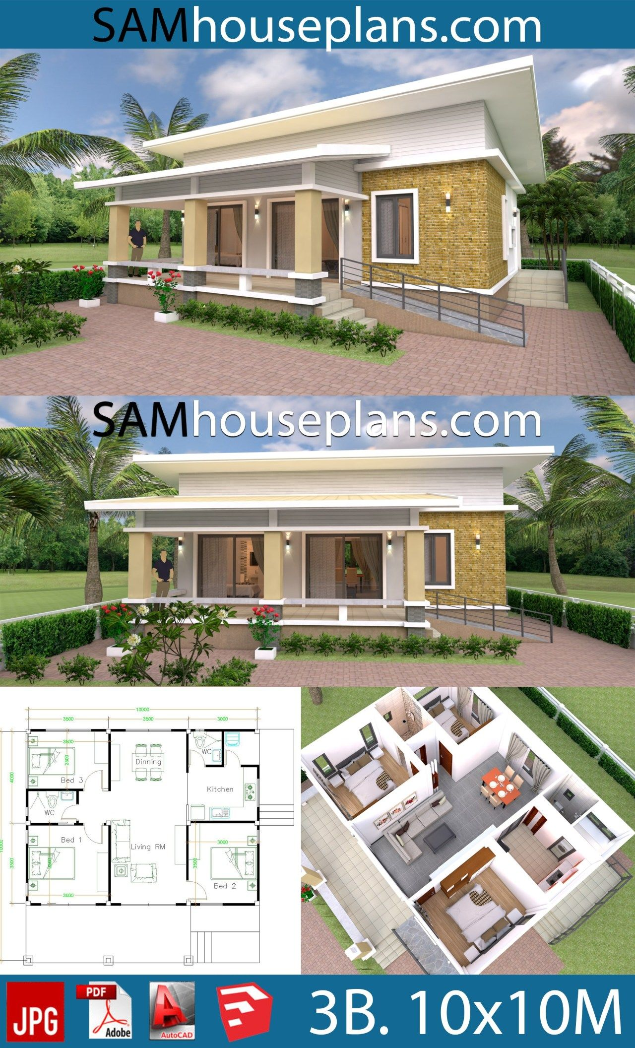 Best House Design Plans 10X10 With 3 Bedrooms Full Interior ใน 640 x 480