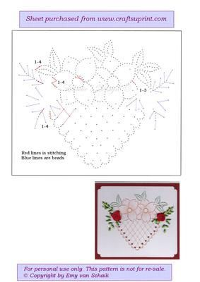 ED034 Flowered heart on Craftsuprint designed by Emy van Schaik - Stitching with beads - Now available for download!