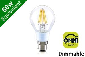 Filament Globe (GLS) B22 7W (60W) Clear LED