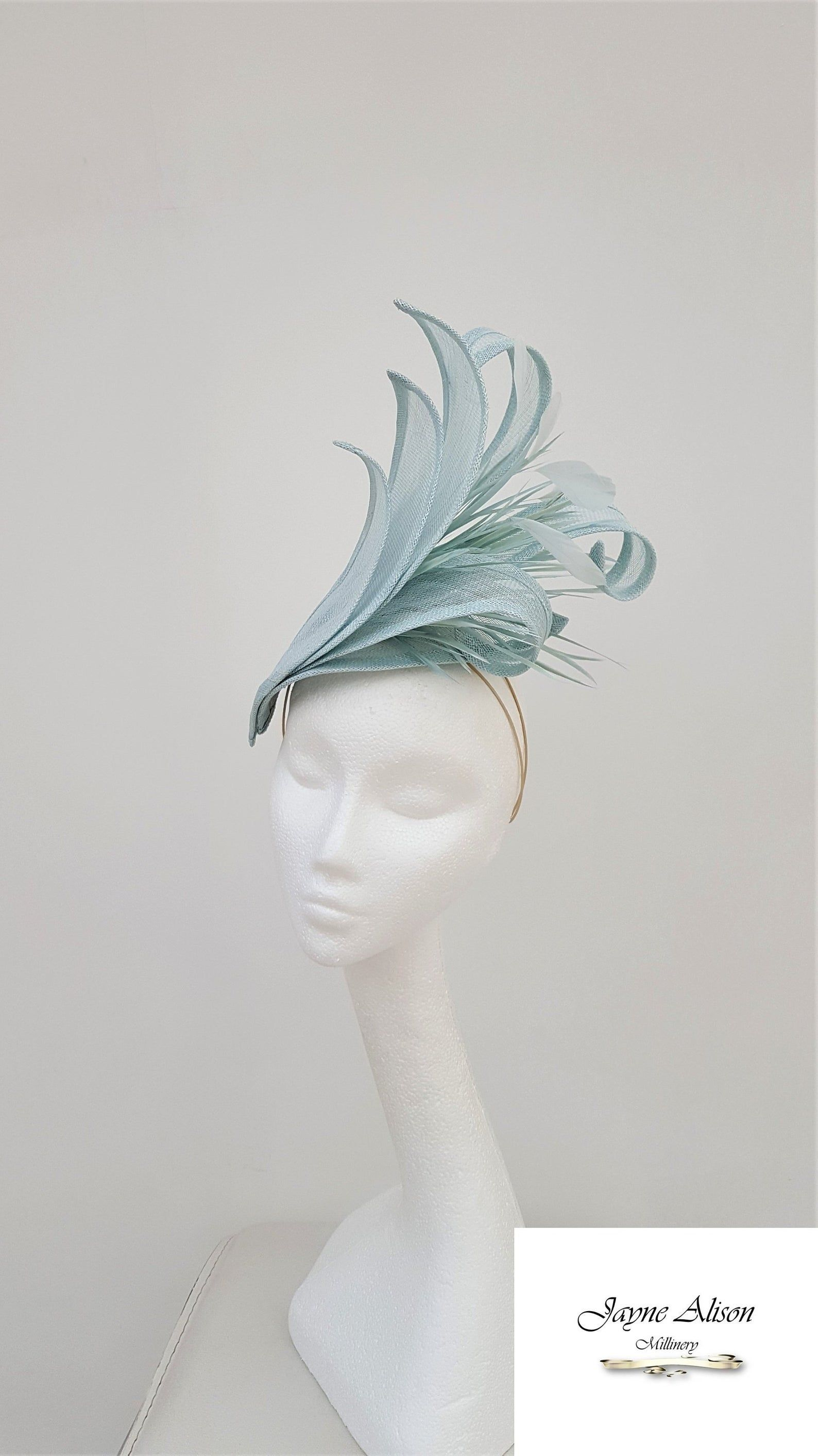 Ocean Blue, Pale Aqua Hatinator, Wedding Fascinator, Mother of the Bride Hat, Royal Ascot Hatinator, Ladies day fascinator, Kentucky Derby