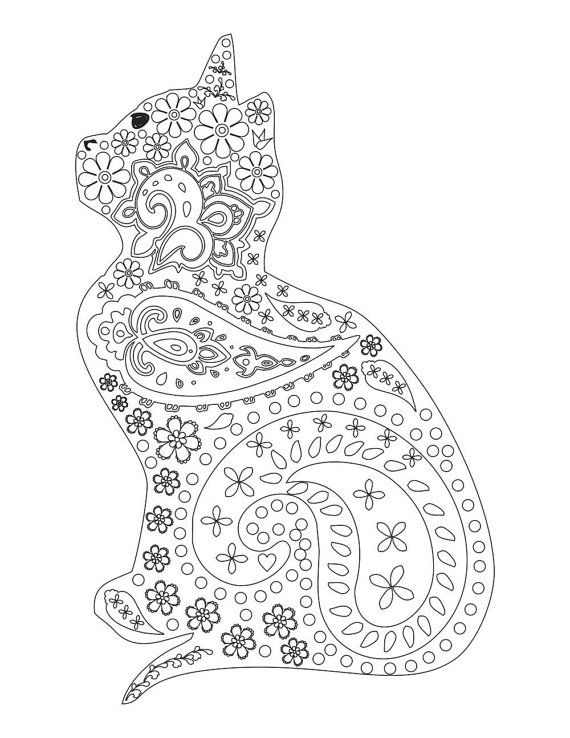 Paisley Cat Coloring Page