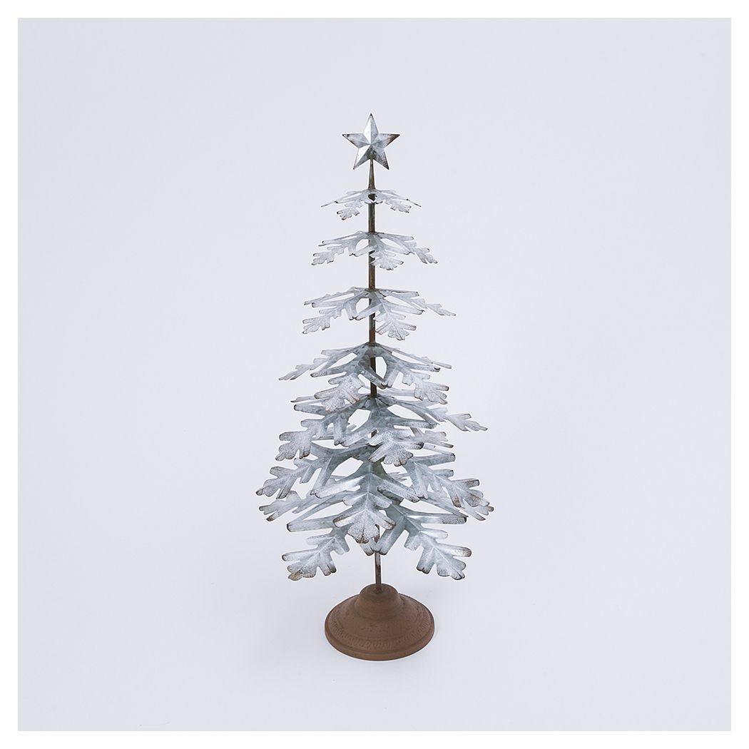 "Gerson International Decorative 33"" Metal Tabletop Evergreen Tree with Star Topper Accent"