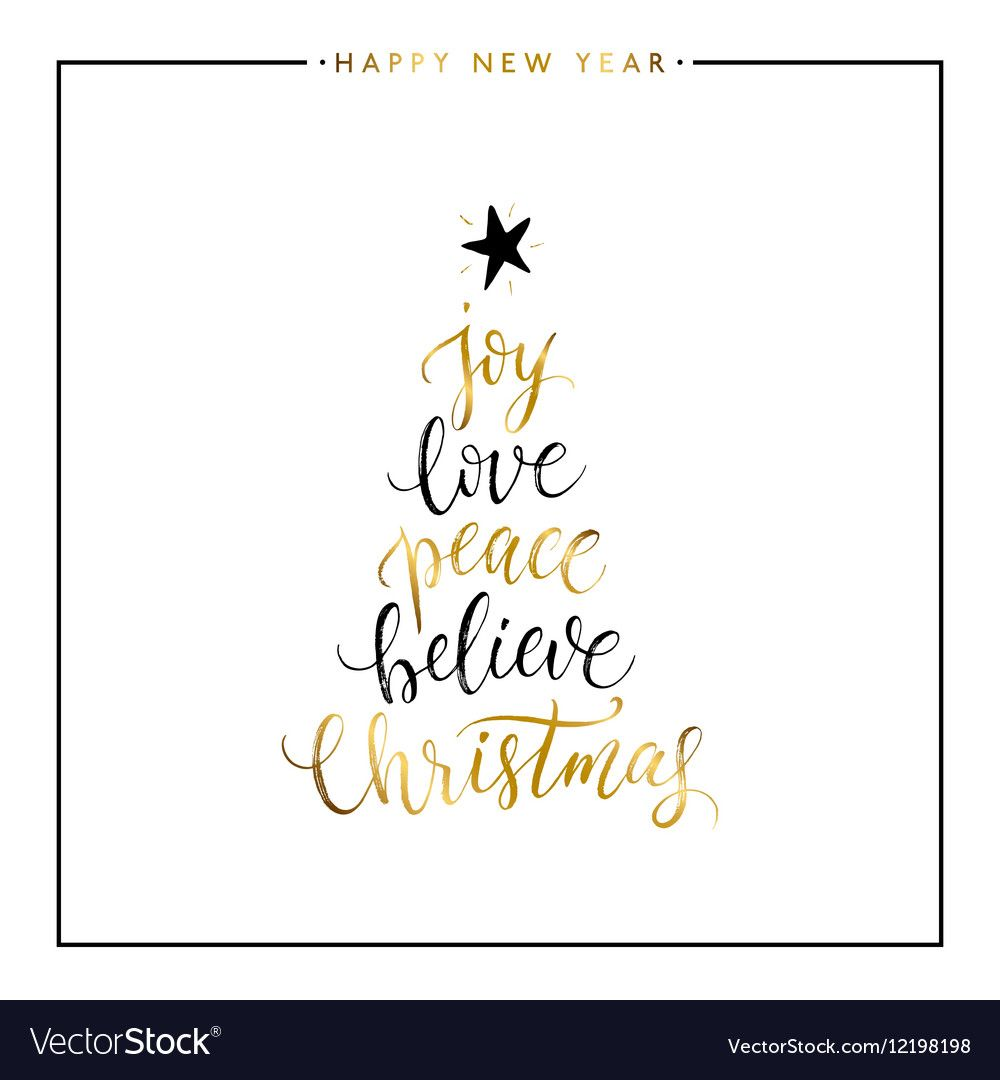 Download Joy love peace believe Christmas gold text vector image on ...
