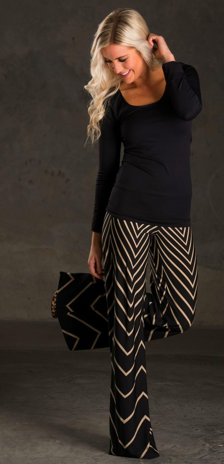 0d94e0b8182 Chevron Palazzo pants paired with a simple long sleeved black shirt. Cute!  Chevron palazzo pant and ...