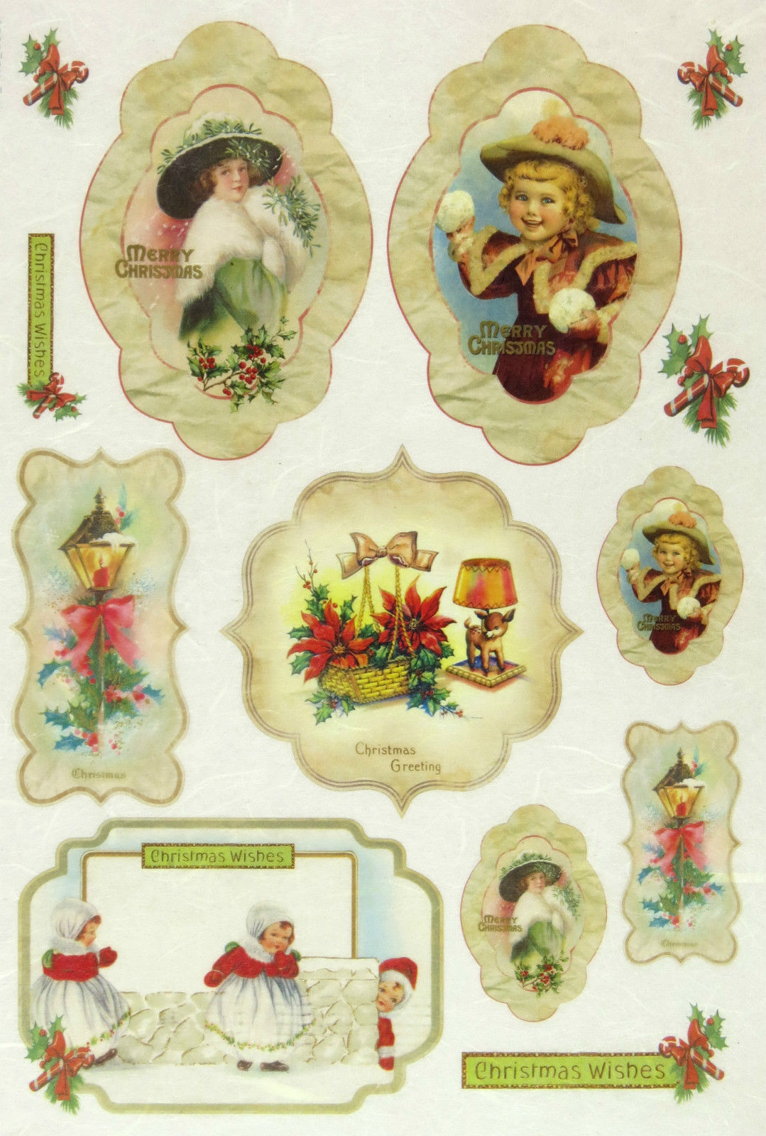Scrapbooking Sheet Christmas Wishes Rice Paper for Decoupage