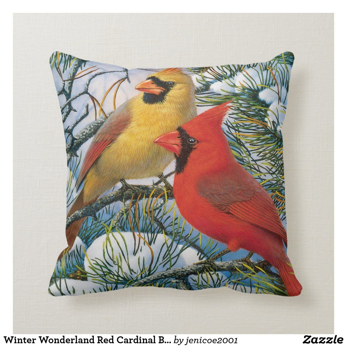 Winter Wonderland Red Cardinal Birds Christmas Throw Pillow Zazzle Com Throw Pillows Christmas Christmas Throws Throw Pillows