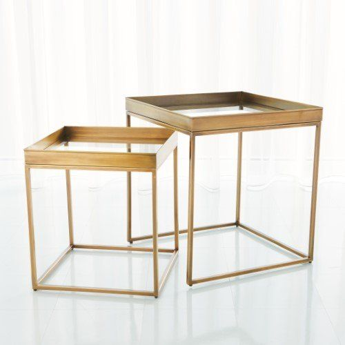 Perfect Nesting Tables Antique Brass Set 2 Tables