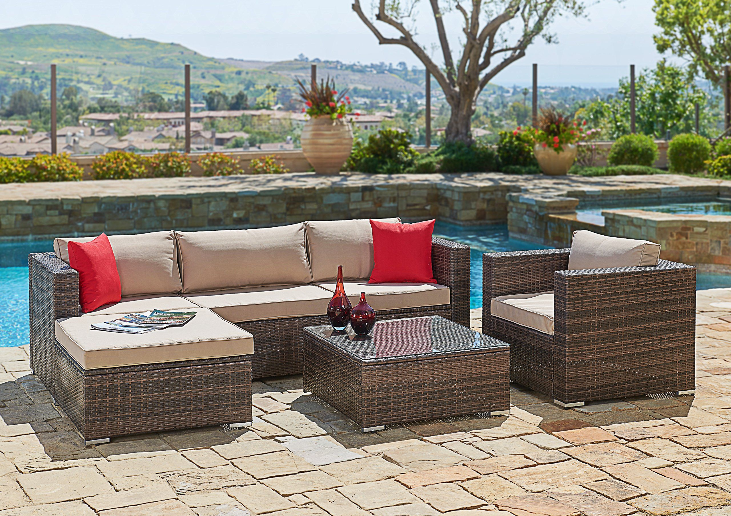 Suncrown Outdoor Furniture Sectional Sofa & Chair 6 Piece Set