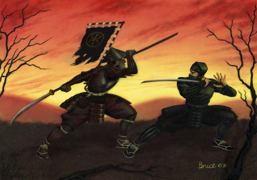 Samurai vs Ninja   Ninjas   Ninja, Samurai, Fantasy art