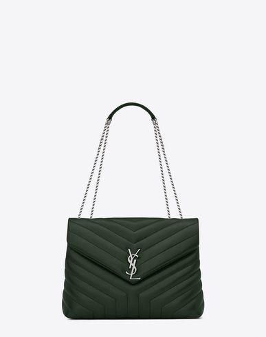 Saint Laurent Medium Loulou Chain Bag In Dark Green Y Matelasse Leather Modesens Yves Saint Laurent Bags Chain Bags Bags