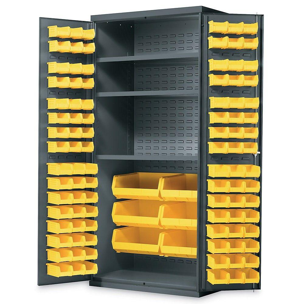 in w x in h x in d freestanding steel cabinet in gray