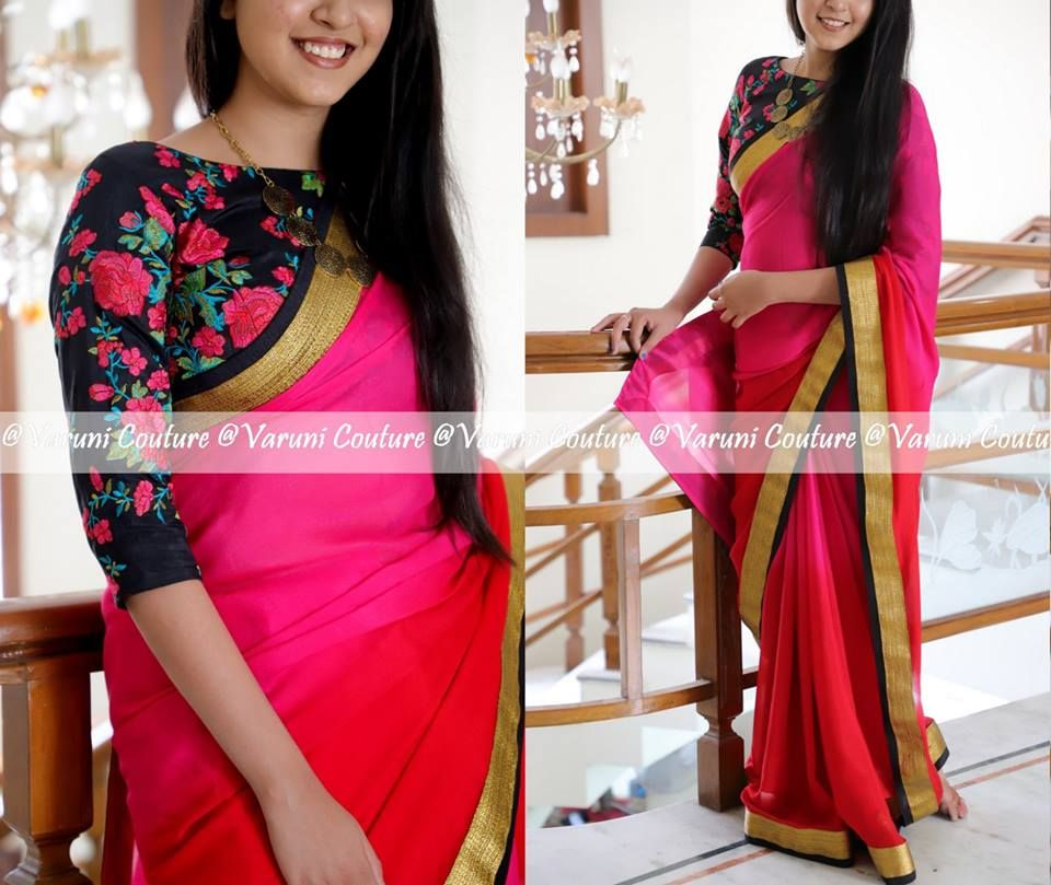 724df3d1165b88 Style Plain Saree with Embroidery Blouse – 17 Chic Ideas! • Keep Me Stylish
