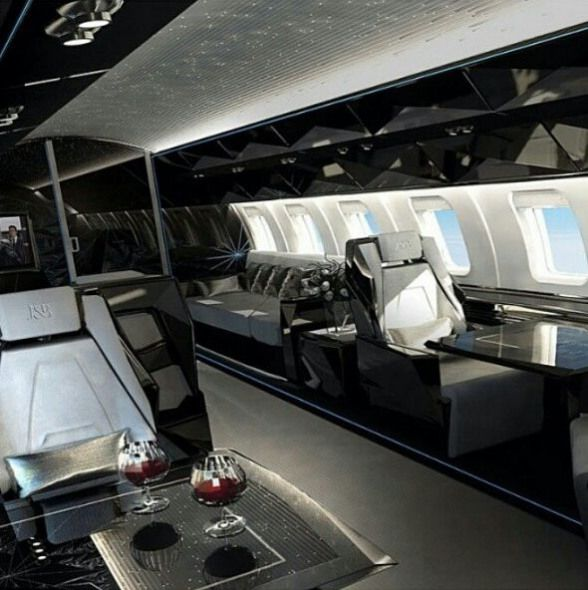 Sleek Modern Aircraft Private Aircraft Luxus Interieur