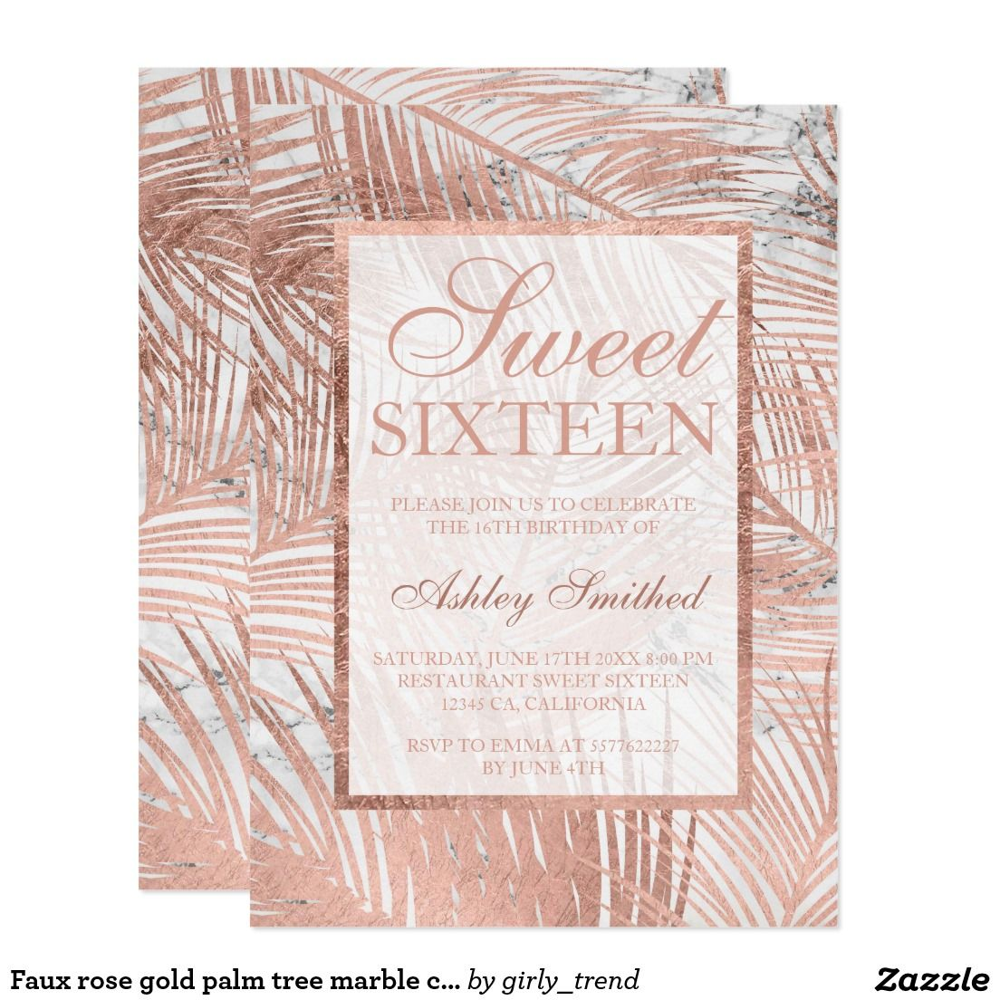 Faux Rose Gold Palm Tree Marble Chic Sweet 16 Card Sweet Sixteen