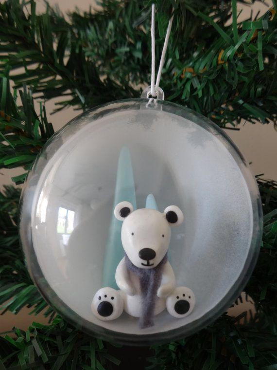 Boule de Noël Ours Polaire thème banquise par FeePlaisir sur Etsy