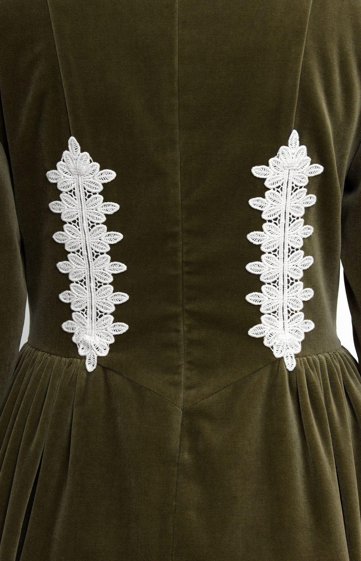 Longsleeve cotton velvet dress with cotton lace finish mandarin