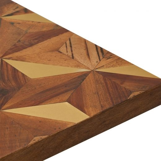 Photo of Parq Square Café Table Top with Geometric Brass Inlay, Brown Wood 80cm